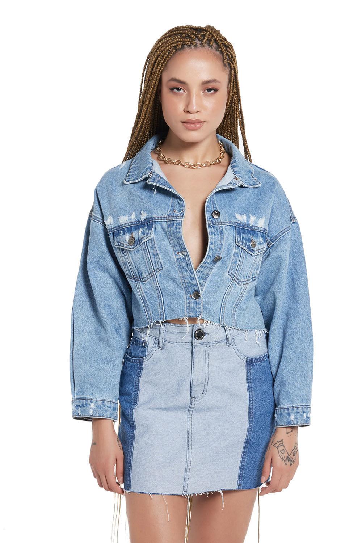 Jaqueta jeans puídos winter collection planet girls jeans médio G