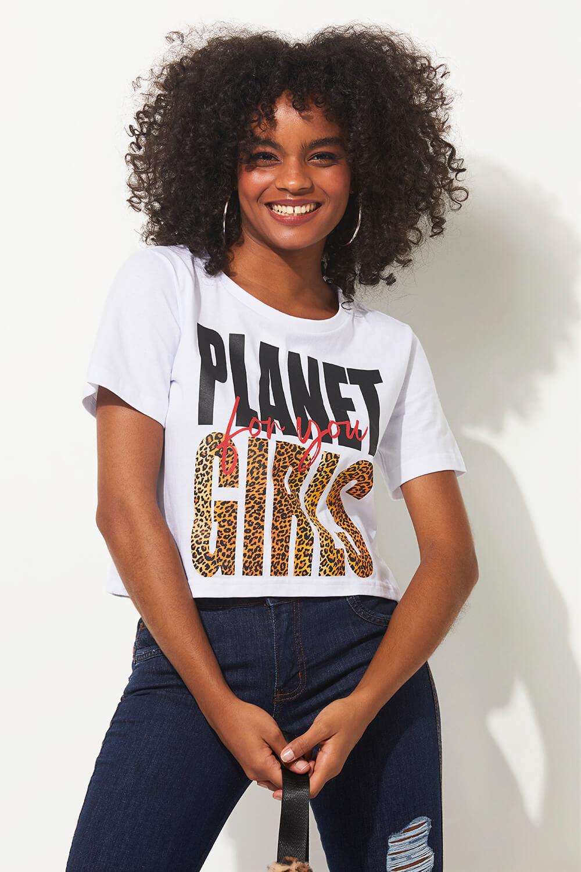 Cropped onça summer fashion planet girls branco PP