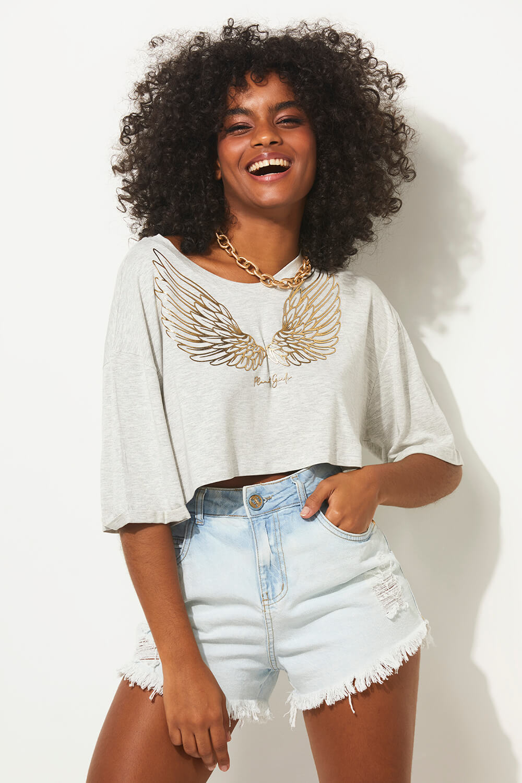 Camiseta asas e foil summer fashion planet girls mescla claro PP