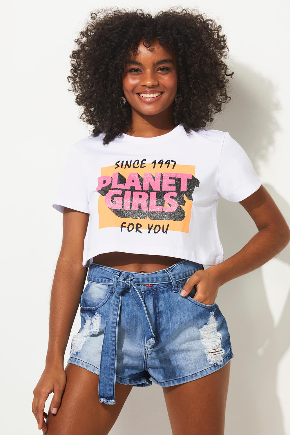 Cropped 1997 for you summer fashion planet girls branco PP