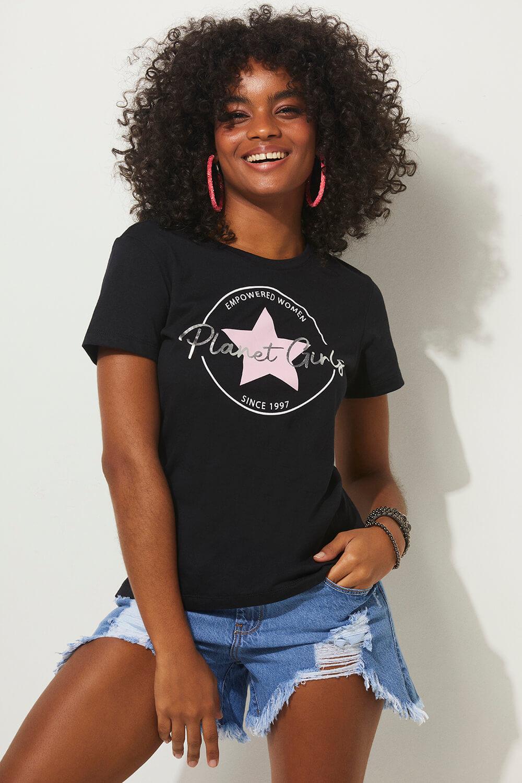 T-shirt 1997 estrela summer fashion planet girls preto PP