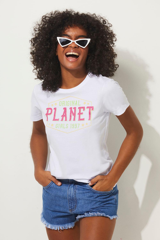T-shirt original 1997 summer fashion planet girls branco PP
