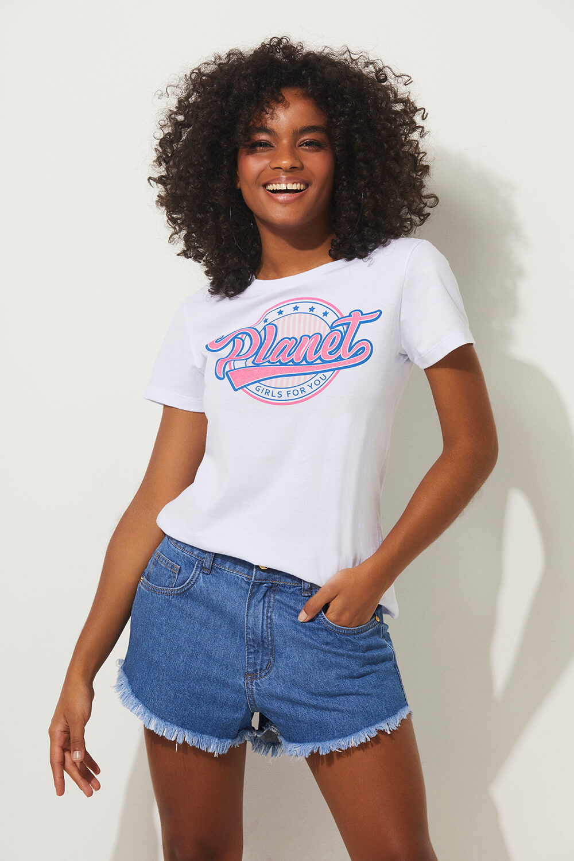 T-shirt for you summer fashion planet girls branco PP