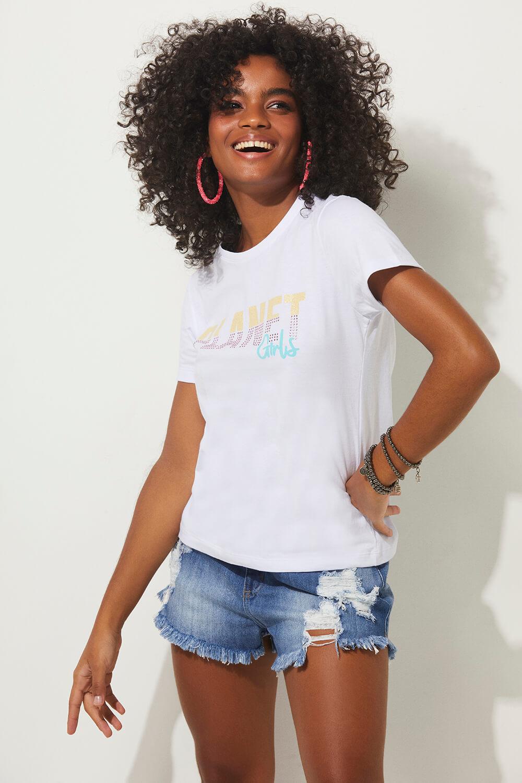 T-shirt logo colorido summer fashion planet girls branco PP