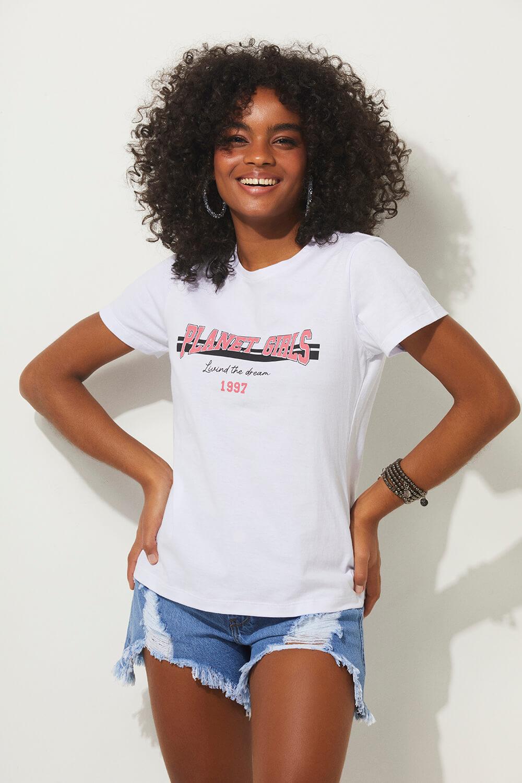 T-shirt the dream 1997 summer fashion planet girls branco PP