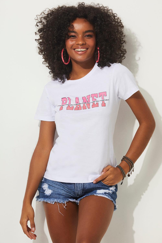 T-shirt logo frontal summer fashion planet girls branco PP