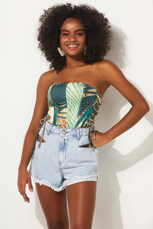 Corselet folhagem summer fashion planet girls estampado PP