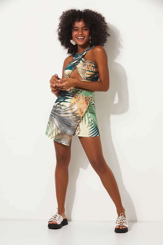 Saia folhagem summer fashion planet girls estampado PP