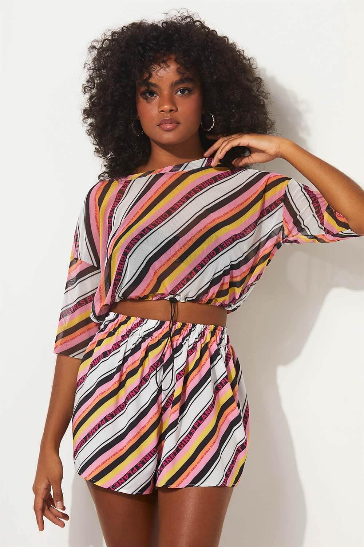 Blusa listra e logo summer fashion planet girls estampada PP
